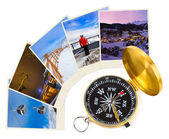 Mountains ski Austria images and compass — Stock Photo