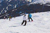 Skiers at mountains ski resort Bad Gastein Austria — Stock Photo