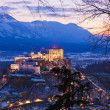 Stock Photo: Salzburg and castle Hohensalzburg at sunset - Austria