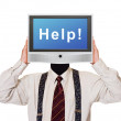 Man with Help tv screen for head — Stock Photo