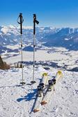Mountains skis and ski-sticks - St. Gilgen Austria — Stock Photo