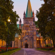 Cathedral in Trondheim Norway at sunset — Foto de Stock