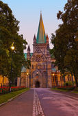 Cathedral in Trondheim Norway at sunset — Stock Photo