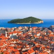 Town Dubrovnik and island in Croatia — Stock Photo