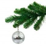 Christmas tree and mirror ball — Stock Photo