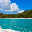 Tropical island and boat — Stock Photo