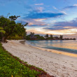 Stock Photo: Seychelles tropical beach at sunset