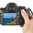 Camera in hand and Tenerife Canary view (my photo) — Stock Photo