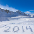 2014 on snow at mountains — Stock Photo