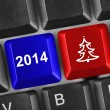 Computer keyboard with Christmas keys — Stock Photo
