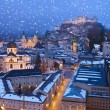 City and castle Hohensalzburg at sunset — Stock Photo