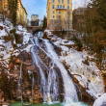 Waterfall in Mountains ski resort Bad Gastein Austria — Stock Photo