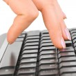Computer keyboard and hand — Stock Photo #4277068