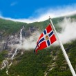 Norway flag and waterfall — Stock Photo #50915833