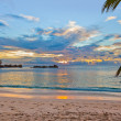 Seychelles tropical beach at sunset — Stock Photo #51152971