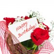 Roses bouquet and card Happy Birthday — Stock Photo #51449131