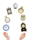 ジャグリングの手と時計 — ストック写真