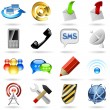 Communication and internet icons — Vector de stock #12455683
