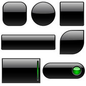 Blank black plastic buttons — Stock Vector