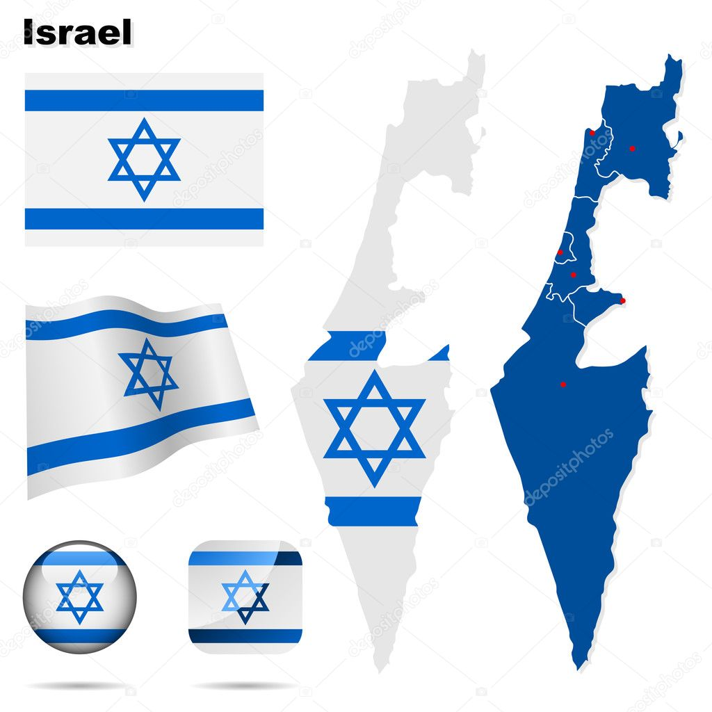 Israel  vector set. Detailed country shape with region borders, flags and icons isolated on white background. — Stock Vector #12455710