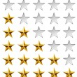 Golden stars rating template isolated on white background. - Stock Vector