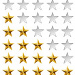 Golden stars rating template isolated on white background. — 图库矢量图片