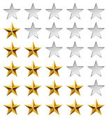 Golden stars rating template isolated on white background. — Vector de stock