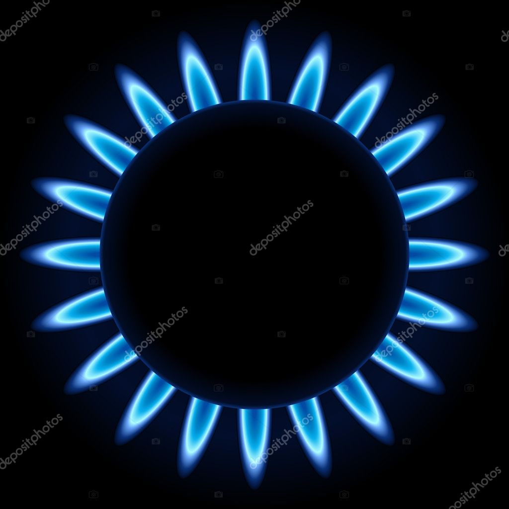 Blue flames ring of kitchen gas burner isolated on black background. — Stock Vector #13379366
