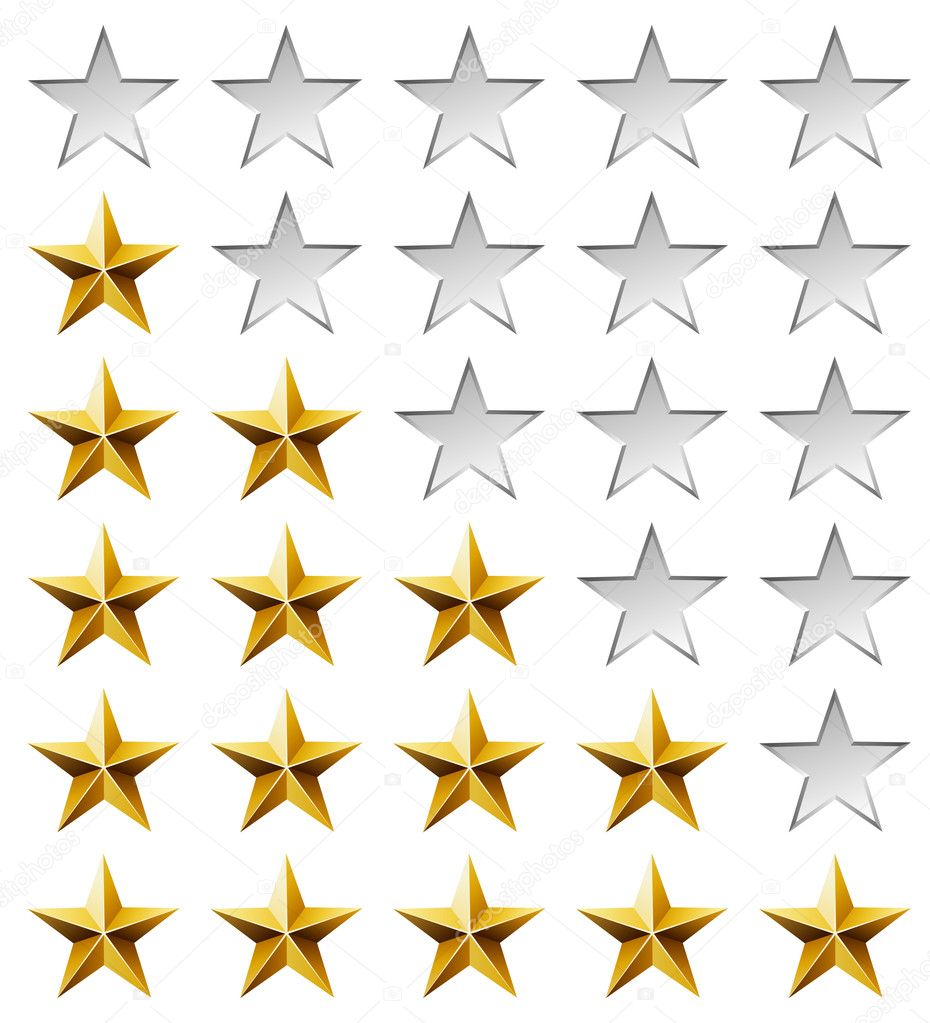 Golden stars rating template isolated on white background. — Stock Vector #13379367