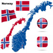 Norway vector set. — Stockvectorbeeld