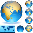 Vector Earth globes and detailed shape of the world — Stock Vector
