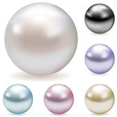 Vector collection of color pearls — Stok Vektör