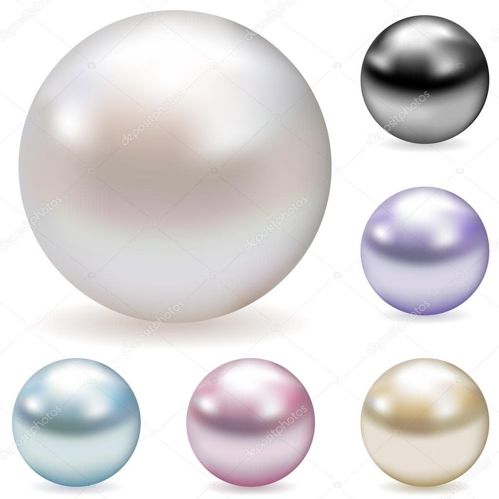 Vector collection of color pearls isolated on white background.  — Stock Vector #14010280