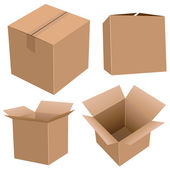 Cardboard boxes set — Stock Vector