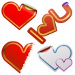 Heart shaped stickers with color frames — Stok Vektör