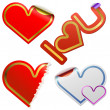 Heart shaped stickers with color frames - Stock Vector