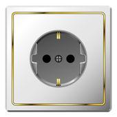Tomacorriente eléctrico blanco con marco dorado — Vector de stock