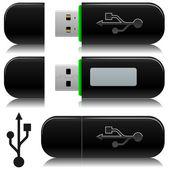 Portable usb flash drive — Stock Vector