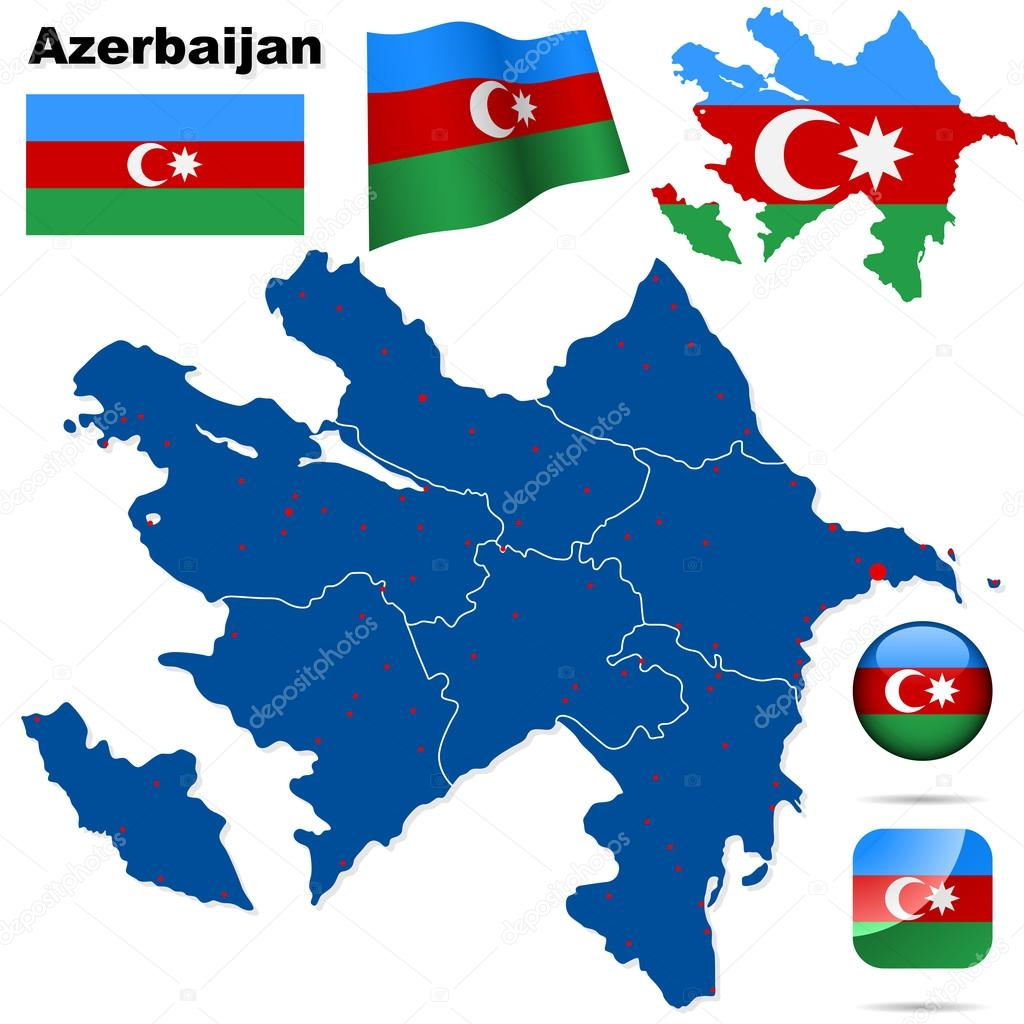 Azerbaijan vector set. Detailed country shape with region borders, flags and icons isolated on white background. — Stock Vector #18904711