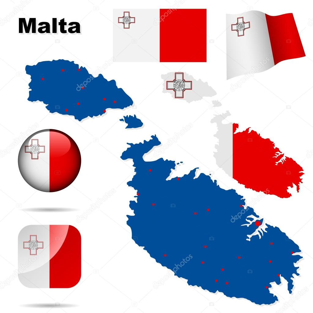 Malta vector set. Detailed country shape with region borders, flags and icons isolated on white background. — Stock Vector #18904747