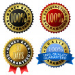 100% guarantee golden labels — Stock Vector