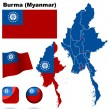 Burma (Myanmar) vector set. — Stock vektor