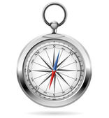Realistic vector illustration of shiny metal compass. — Stock Vector