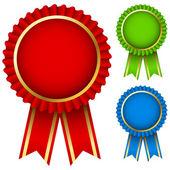 Award ribbon rosettes — Stock Vector