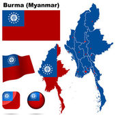 Burma (Myanmar) vector set. — Stock Vector