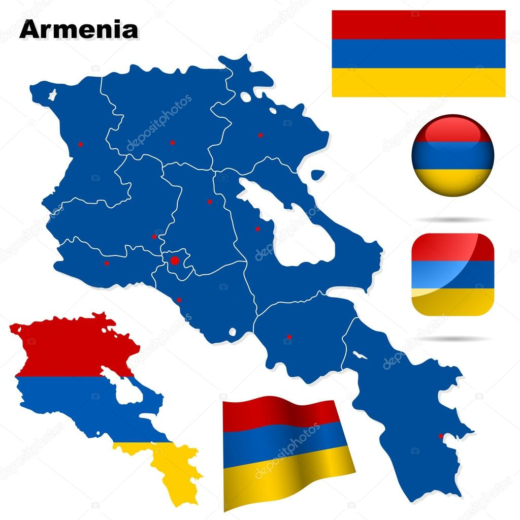 Armenia vector set. Detailed country shape with region borders, flags and icons isolated on white background.  Stock Vector #19023579