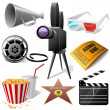 Stock Vector: Cinema symbols