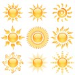 Stockvector : Yellow glossy sun icons collection isolated on white.