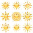Stock Vector: Yellow glossy sun icons collection isolated on white.