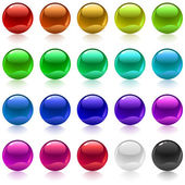 Collection of colorful glossy metallic spheres isolated on white — Stock Vector